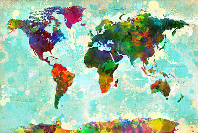 Watercolor Map Painting - World Map Splatter Design by Gary Grayson