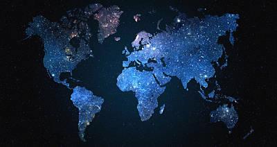 Cafe Digital Art - World Map Stars by Taylan Apukovska