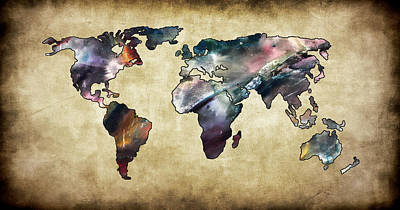 Photograph - World Map Brown Tones by Athena Mckinzie