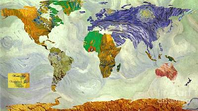 World Map Van Gogh1 Art Print by John Clark