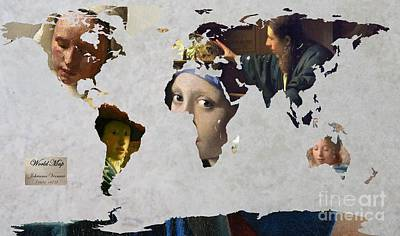 Netherlands Map Digital Art - World Map  Vermeer 1 by John Clark