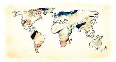 Photograph - World Map Pastel Waves by Athena Mckinzie