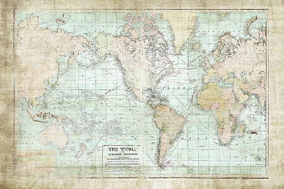 Maps Painting - World Map Vintage 1913 by Ramona Murdock