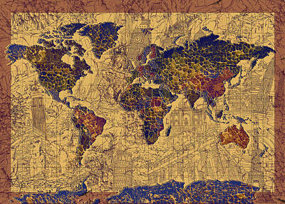 Mapping Painting - World Map Vintage by Bekim Art