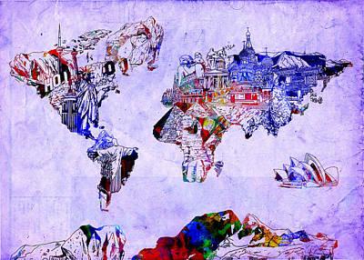 America The Continent Digital Art - World Map Watercolor 2 by Bekim Art