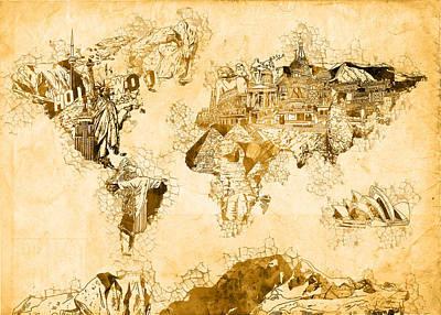 Paris Painting - World Map Watercolor 3 by Bekim Art