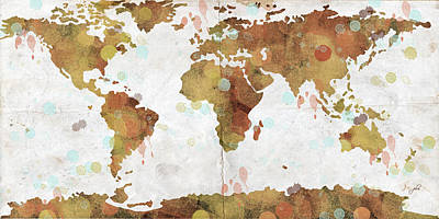 Popular Digital Art - World Map Watercolor 3 by Paulette B Wright
