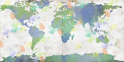 World Map Watercolor 4 Art Print by Paulette B Wright