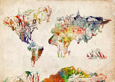 America The Continent Painting - World Map Watercolor 5 by Bekim Art