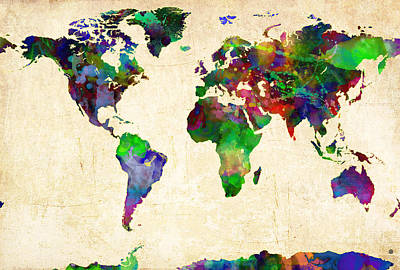 Artistic Digital Art - World Map Watercolor by Gary Grayson
