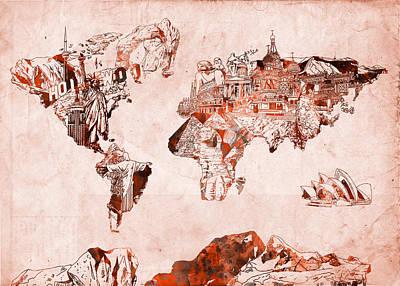 Paris Painting - World Map Watercolor by Bekim Art