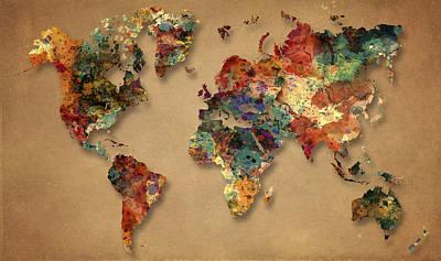 World Map Watercolor Painting 1 Original by Georgeta Blanaru