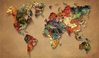 World Map Watercolor Painting 1 Original