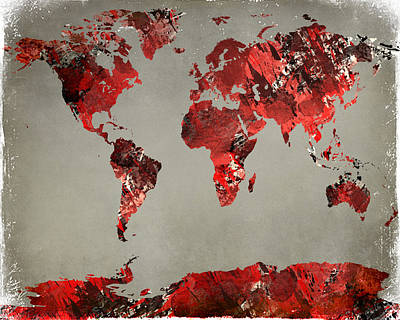 Digital Art - World Map - Watercolor Red-black-gray by Paulette B Wright