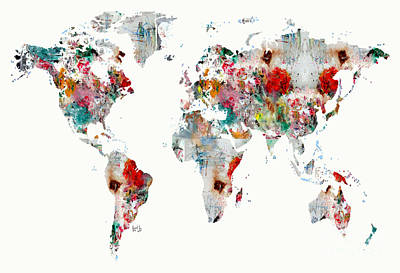 Painting - World Map Watercolour by Bri B