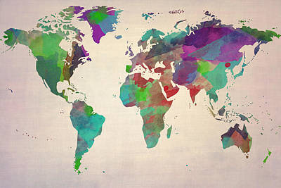 Abstract Map Drawing - World Map Watercolour Painting by Eti Reid