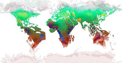Digital Art - World Map Whorls by Paulette B Wright