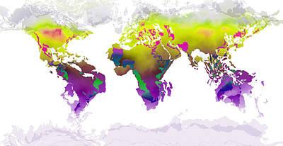 Digital Art - World Map Whorls2 by Paulette B Wright