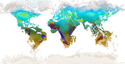 Digital Art - World Map Whorls3 by Paulette B Wright