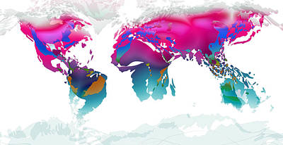 Digital Art - World Map Whorls6 by Paulette B Wright