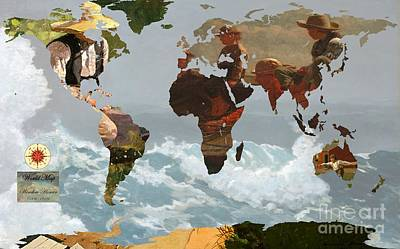 Geography Digital Art - World Map Winslow Homer 1 by John Clark
