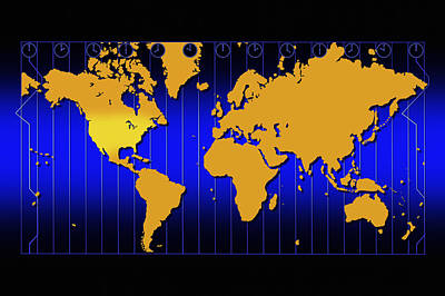 World Schooling Photograph - World Map With Time Zones by Don Hammond