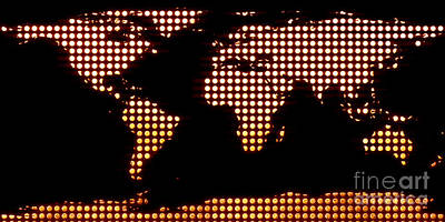 Global Digital Art - World Map Yellow Dots by Pixel  Chimp