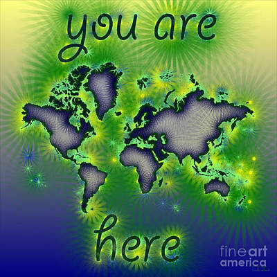 World Map You Are Here Amuza In Blue Yellow And Green Art Print by Eleven Corners