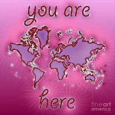 World Map You Are Here Amuza In Purple And Pink Art Print by Eleven Corners