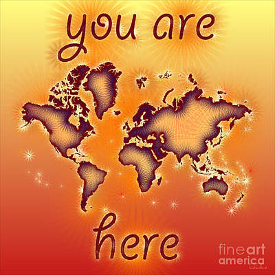 World Map You Are Here Amuza In Red Yellow And Orange Art Print by Eleven Corners