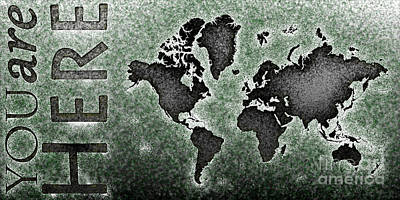 World Map You Are Here Novo In Black And Green Art Print by Eleven Corners