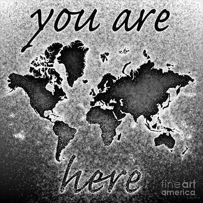 World Map You Are Here Novo In Black And White Art Print by Eleven Corners