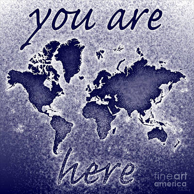 World Map You Are Here Novo In Blue Art Print by Eleven Corners