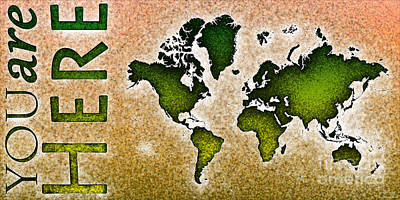 World Map You Are Here Novo In Green And Orange Art Print by Eleven Corners