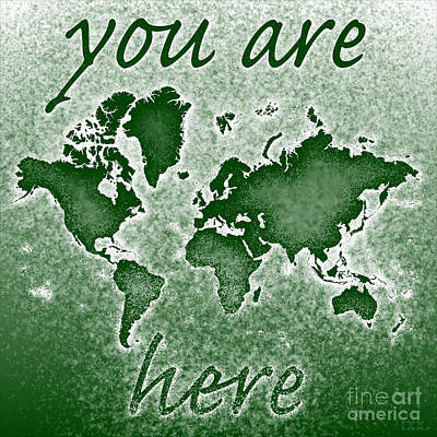 World Map You Are Here Novo In Green Art Print by Eleven Corners