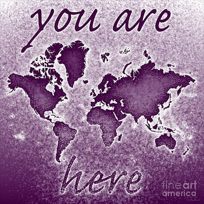 World Map You Are Here Novo In Purple Art Print by Eleven Corners