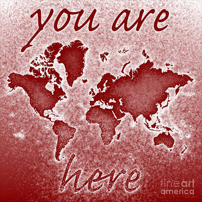 World Map You Are Here Novo In Red Art Print by Eleven Corners