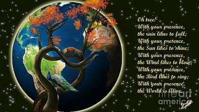 Lovebird Digital Art - World Needs Tree by Artist Nandika  Dutt
