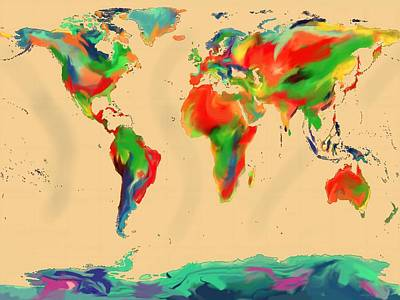 World Of Color Map Art Print by Andre Pillay