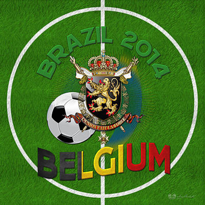 World Of Soccer 2014 - Belgium Art Print by Serge Averbukh
