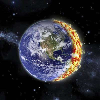 Luminous Globe Photograph - World On Fire by Marc Ward