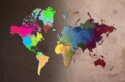 Kenya Painting - World Map Splatters by Anthony Mwangi