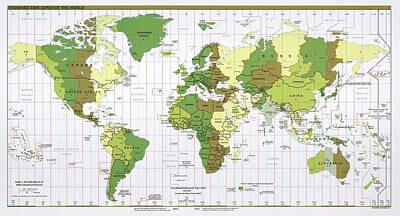 World Time Zones Art Print by Library Of Congress, Geography And Map Division