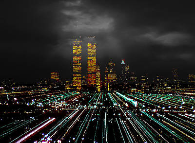 Photograph - World Trade Center At Night 1980 by Kellice Swaggerty