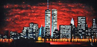 Sunsert Painting - World Trade Center Buildings Sold by Thomas Kolendra