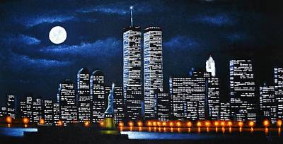 City Scape Painting - World Trade Center Buildings by Thomas Kolendra