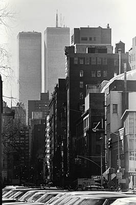 Twin Towers Trade Center Digital Art - World Trade Center Street Scene - Black And White by Steven Hlavac