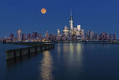 Moonlit Night Photograph - World Trade Center Super Moon by Susan Candelario