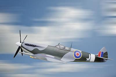 Spitfire Photograph - World War 2 Era British Aircraft Spitfire In Flight by Matthew Gibson
