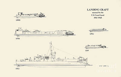 World War 2 Drawing - World War 2 Landing Craft Manned By The Us Coast Guard by Jerry McElroy - Public Domain Image